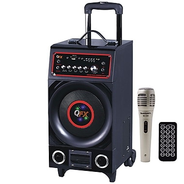 QFX PBX-1008 350 W Portable Powered PA Speaker With Disco Light/FM Radio and USB/SD, Black