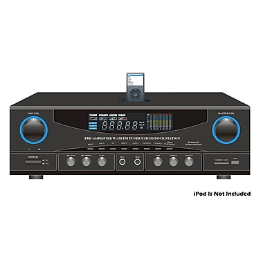 Pyle® PT4601AIU 500 W Stereo Receiver AM-FM Tuner/USB/SD/iPod Docking Station With Subwoofer Control