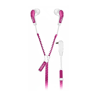 VIBE Slick Zip Cable In Ear Headphones, Pink
