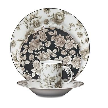 Isaac Mizrahi Madison Bloom Porcelain Dinnerware, 16 Piece Set, Garden Decal