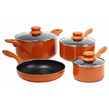 Gibson Colorsplash® Branston Nonstick Aluminum Cookware, 7 Piece Set, Orange