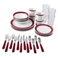 Gibson Essex Dinnerware, 32 Piece Combo Set, Burgundy