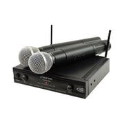 Pyle® PDWM2400 Wireless Dual Channel UHF Microphone System, Black