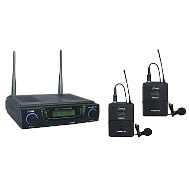 Pyle® PDWM3700 Professional UHF Dual Channel Wireless Microphone System, Black
