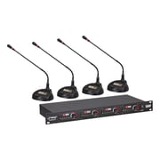 Pyle® PDWM4650 Rackmount 4-Channel Desktop Conference UHF Wireless Microphone System, Black