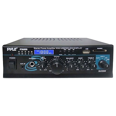 Pyle® PTAU55 2 x 120 Watt Stereo Power Amplifier With USB/SD/MMC CARD/Aux/CD & Mic Inputs
