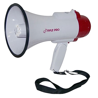 Pyle® PMP37LED Professional Megaphone / Bullhorn With Siren & LED Lights, White/Red