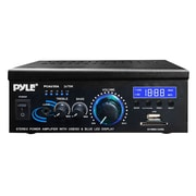 Pyle® PCAU35A Mini 2x75 W Stereo Power Amplifier With USB/SD Card Readers, Black