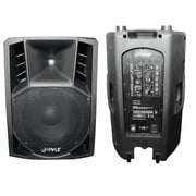 Pyle® PPHP156A 1200 W 15 Powered 2 Way Plastic Molded PA Speaker With Wheels For Easy Transport