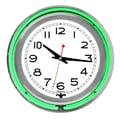 Trademark Global™ NC-1099 14in. White Inner Double Ring Neon Clock, Silver/Green Outer