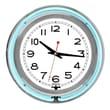 Trademark Global™ NC-1099 14in. White Inner Double Ring Neon Clock, Silver/Blue Outer
