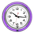 Trademark Global™ NC-1099 14in. White Inner Double Ring Neon Clock, Silver/Purple Outer