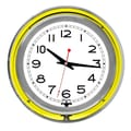 Trademark Global™ NC-1099 14in. White Inner Double Ring Neon Clock, Silver/Yellow Outer