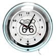 Trademark Global™ NC-1099 14in. Route 66 Circular Neon Wall Clock With Pull Chain, Blue/White