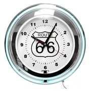 """Trademark Global™ NC-1099 14"""" Route 66 Circular Neon Wall Clock With Pull Chain, Blue/White"""