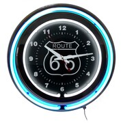 "Trademark Global™ NC-1099 14"" Route 66 Circular Neon Wall Clock With Pull Chain, Blue/Black"