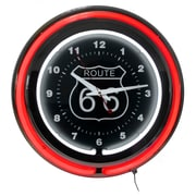 "Trademark Global™ NC-1099 14"" Route 66 Circular Neon Wall Clock With Pull Chain, Red/Black"