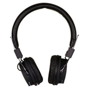 QFX Folding Stereo Headphones With Built In Rechargeable Battery and MP3 FM Radio, Black
