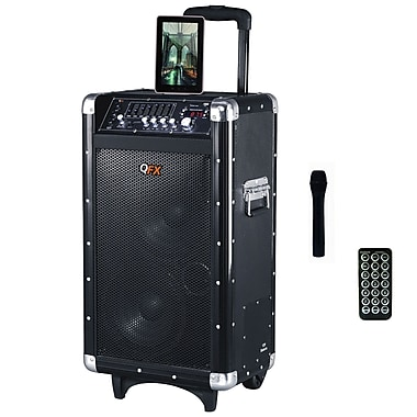 QFX PBX-3080BT 600W Battery Powered Bluetooth PA Speaker, Black