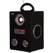 QFX R-55US 4 lbs. FM Radio W/USB/SD Port Built-in Disco Light Rechargeable Battery