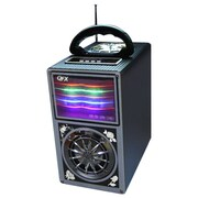 QFX R-51US 7 lbs. FM Radio W/USB/SD Port Built-in Disco Light Rechargeable Battery