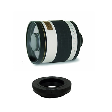 Rokinon® 800mm f/8.0 Mirror Lens With T-Mount Adapter For Canon EOS DSLR, White