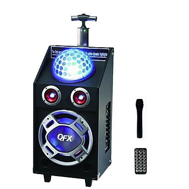 QFX PBX-41003BT 2 Tweeter Bluetooth PA Speaker With Disco Light and USB/SD, Black