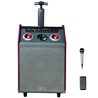 QFX PBX-41004BT 2 Tweeter Bluetooth PA Speaker With Disco Light and USB/SD, Red