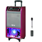 QFX PBX-40800BT Battery Powered Bluetooth PA Speaker With Disco Light and USB/SD, Red