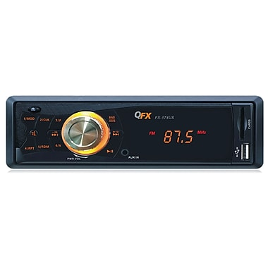 QFX 174US Car Stereo AM/FM Radio With MP3/USB/SD Reciver USB/SD Port, Black