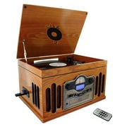 Back To The 50's TB-10103 Antique Wooden 3 Speed Turntable With CD Player, 33/45/78 RPM