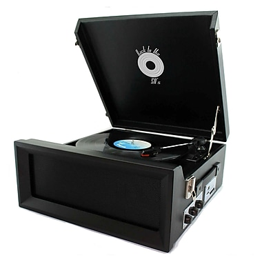 Back To The 50's TB-10107B Portable Vinyl 3 Speed Turntable, 33/45/78 RPM