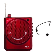 QFX CS-80US Portable PA System With USB/MICRO-SD and FM Radio, 100 W, Red