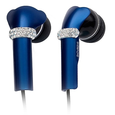 Deos SWAROVSKI In-Ear Headphone With Mic and Dark Blue Shine Crystal Cover, Black