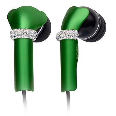 Deos SWAROVSKI In-Ear Headphone With Mic and Green Shine Crystal Cover, Black