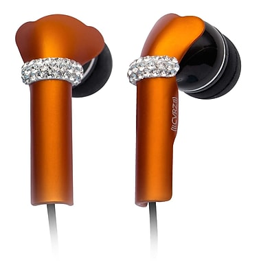 Deos SWAROVSKI In-Ear Headphone With Mic and Orange Shine Crystal Cover, Black