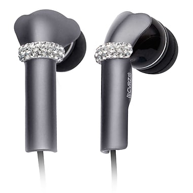 Deos SWAROVSKI In-Ear Headphone With Mic and Silver Shine Crystal Cover, Black