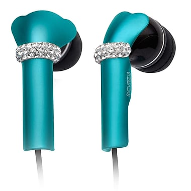 Deos SWAROVSKI In-Ear Headphone With Mic and Turquoise Shine Crystal Cover, Black