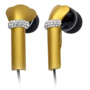 Deos SWAROVSKI In-Ear Headphone With Mic and Yellow Shine Crystal Cover, Black
