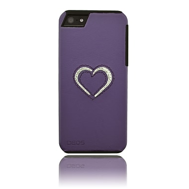 Deos SWAROVSKI Leather Case With White Crystal Open Bottom Heart For iPhone 5, Purple