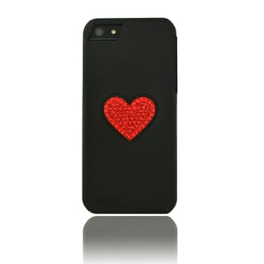 Deos SWAROVSKI Leather Case With Light Siam Crystal Heart For iPhone 5, Black