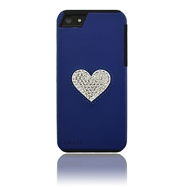 Deos SWAROVSKI Leather Case With White Crystal Heart For iPhone 5, Blue