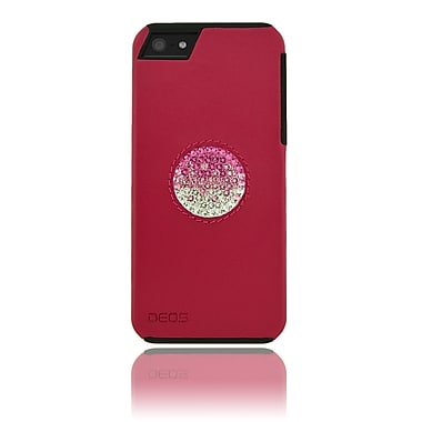 Deos Leather Case With Gadient Pink Crystal SWAROVSKI Circle For iPhone 5, Pink
