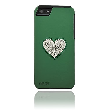 Deos SWAROVSKI Leather Case With White Crystal Heart For iPhone 5, Green