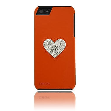Deos SWAROVSKI Leather Case With White Crystal Heart For iPhone 5, Orange