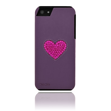Deos SWAROVSKI Leather Case With Fuchsia Crystal Heart For iPhone 5, Purple