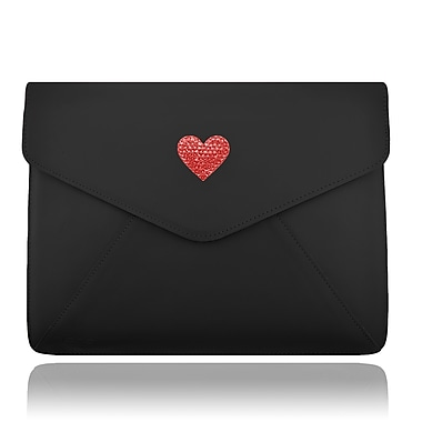 Deos SWAROVSKI Large Tech Clutch Case With Light Siam Crystal Heart For iPad, Black