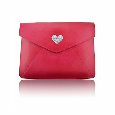 Deos SWAROVSKI Large Tech Clutch Case With White Crystal Heart For iPad, Pink