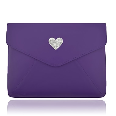 Deos SWAROVSKI Large Tech Clutch Case With White Crystal Heart For iPad, Purple