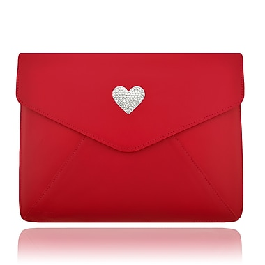 Deos SWAROVSKI Large Tech Clutch Case With White Crystal Heart For iPad, Red